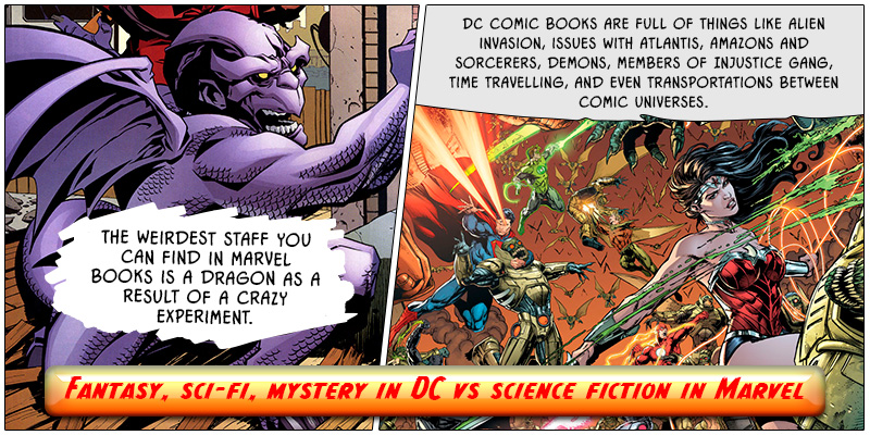 Fantasy, sci-fi, mystery in DC vs science fiction in Marvel